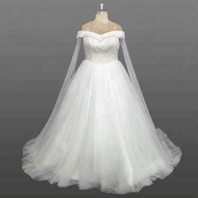 Desain terbaru <span class=keywords><strong>Gaun</strong></span> Off Bahu Beaded Top <span class=keywords><strong>Lemak</strong></span> <span class=keywords><strong>Ukuran</strong></span> Custom Made Wedding Dress Dengan Selendang