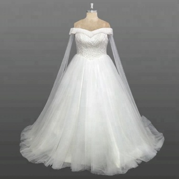 a24efb7bf6d Latest Designs Wedding Gown Off Shoulder Beaded Top Fat Size Custom Made Wedding  Dress With Shawl