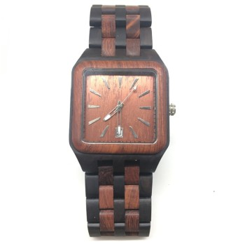 Men's Square Multicolor Wood Watches Quartz Analog Movement Date Wristwatch
