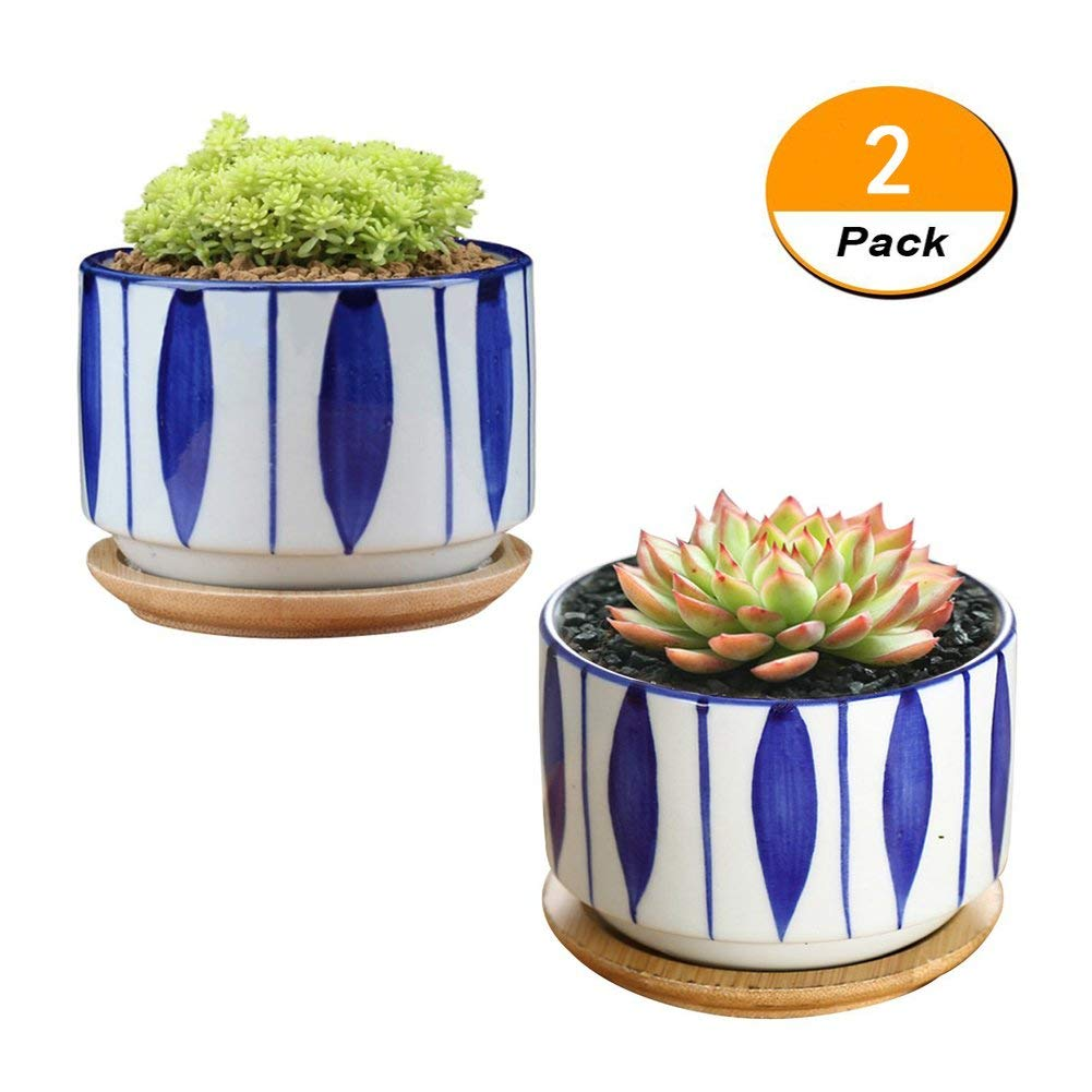 JINMURY 3 inch Japanese Style Ceramic Plant Pots with Bamboo Tray Succulent Planter/Cactus Plant Pot/Flower Pot Home Decor (NO.4)