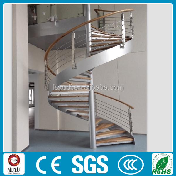 interior customized iron wood spiral stair supplier, manufacture -YUDI