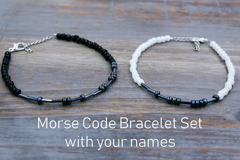 71c2f8c9cb9 Get Quotations · Personalized Distance Bracelets - Matching Morse Code  Bracelets for Couples - Boyfriend and Girlfriend Bracelets