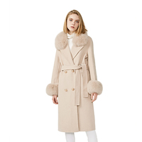 Fashion Winter Clothes Overcoat Real Fox Fur Trimmed Women Jacket Long Double Breast Wool Wrap Trench Coat Woman