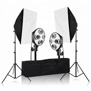 1600W Photography Continuous Photo Video Studio Light Kit 4 Socket Light Two Easy Softbox with Case