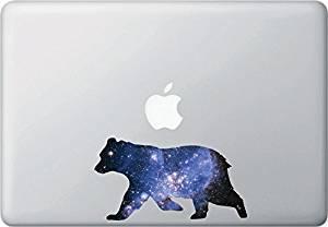 "Cosmic Bear - Design 2 - Contour Cut and Printed Laptop / Macbook Vinyl Decal © YYDC. (6""w x 3.5""h)"