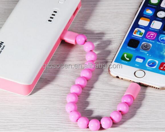 Special Bracelet USB Data Cable in String with Shining and Smooth Baddha Beads,charge data cable for Iphone 5/6/7