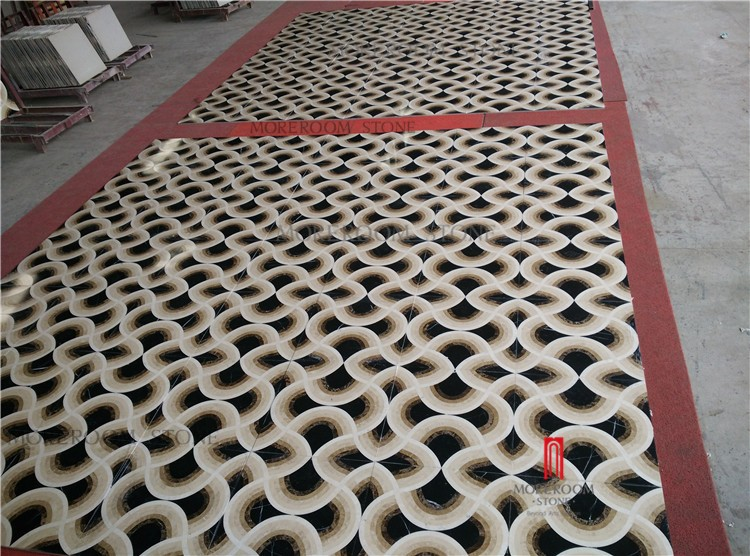 MPC1001S-M01G Pre-Paving Service -- 3D Effect Waterjet Marble Tile for Interior Design