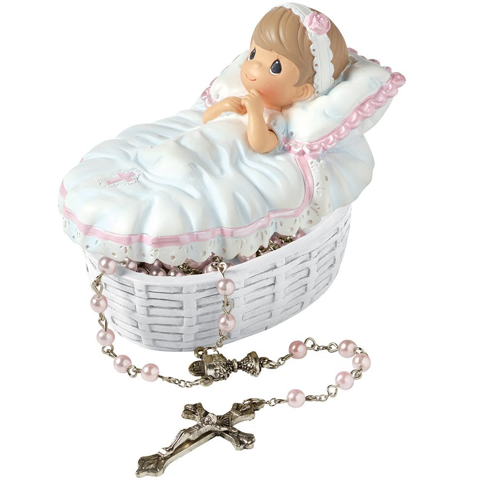 """Precious Moments, Baptism Gift, """"Baptized In His Name"""" Resin Box With Rosary, For Girl, #153406"""