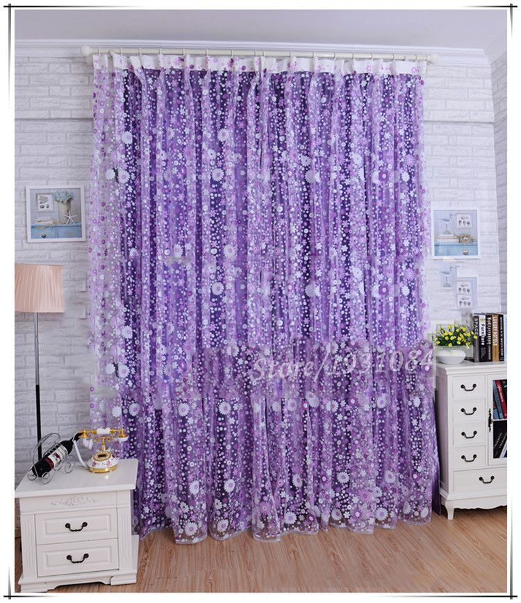 Pastoral Purple Sheer Curtain For Living Room Windows Tulle Curtain For The  Bedroom Home Decor Drapes Lace Organza Cortinas 1Pcs