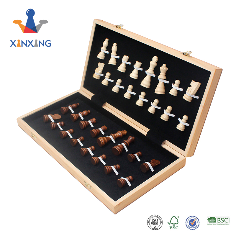 Travel luxury wooden portable chess board game sets chess box with wood pieces for sale, Wooden color