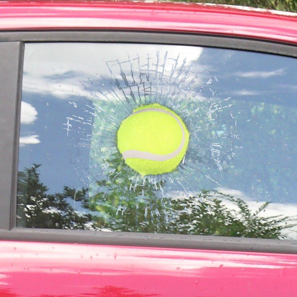3D Hit Window Car Decal Sticker Tennis Ball Window Decoration Funny 3D Sticker Self Adhesive Decal
