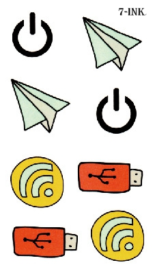 Water Transfer Fake Tattoo Cute Wifi Usb Power Paper Airplane