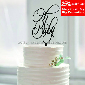 Baby Birthday Decorations Script Custom Letter Oh Cake Topper