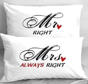 Mr Right Mrs Always Right Pillowcases From China Supply By