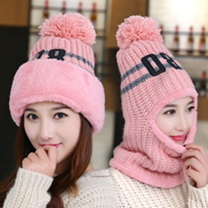 Knitted women winter hat and scarf set Fashion Wool Thickening Warm earmuffs Hat Scarf Set Casual Snow Caps
