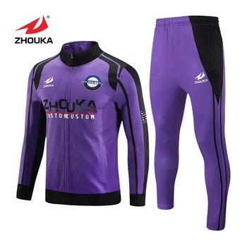 womens polyester purple tracksuit football teams tracksuit custom logo top  design tracksuit for man d35e000113