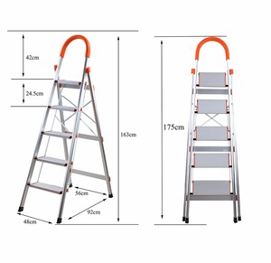 Aluminum Alloy Portable Folding 5 Step 330lb Capacity Home Step Ladder