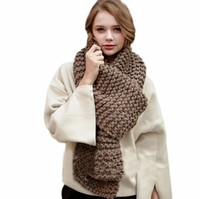 Men solid color Winter Thick Cable Knit Wrap Chunky Warm Scarf All Colors