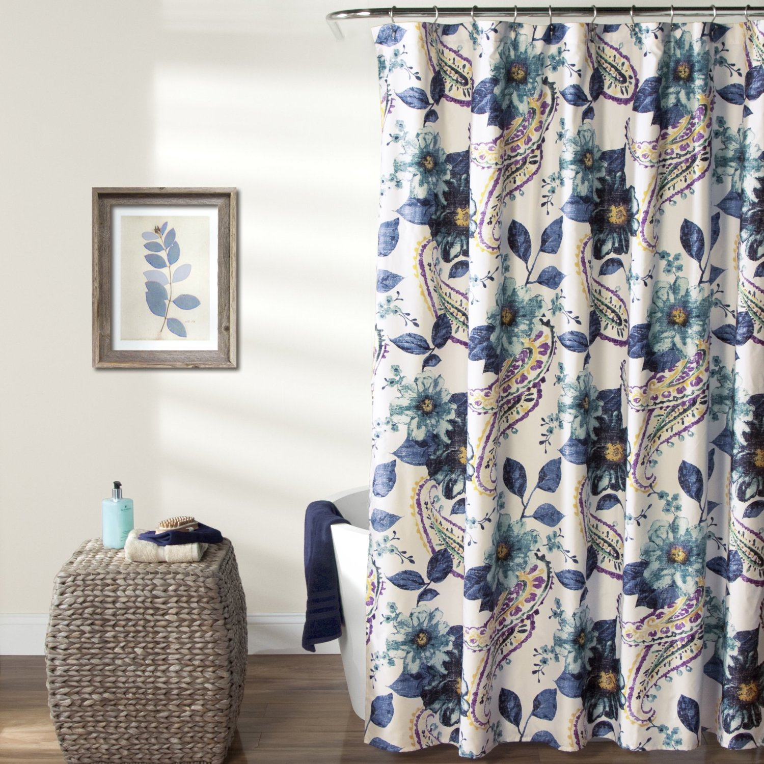 Get Quotations Lush Decor Floral Paisley Shower Curtain 72 Inches X Blue