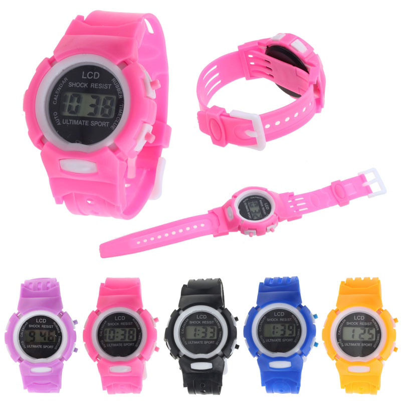 2015 Free Shipping Kids Student Time Clock Electronic Digital Watch LCD Display Teenager Wristwatch Gifts for