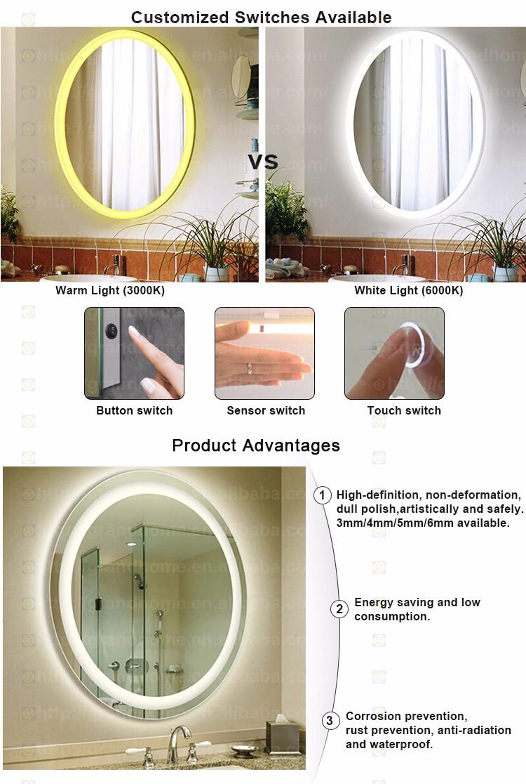 Professional Manufacture Illuminated Bathroom Backlit Mirror Round ...