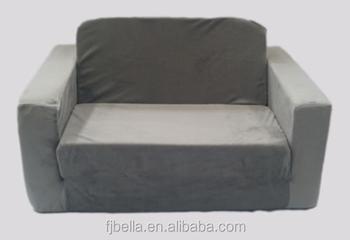 Kids Flip Open Foam Sofa Bed Couch Grey