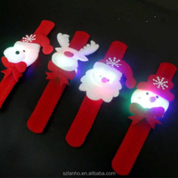2016 New Christmas gift for children LED ring bracelet clap toy snowman Christmas ornament ring New Year Party