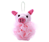 Custom wholesale body rubbing animal shaped baby bath sponge loofah mesh puff shower sponge with cloth towel material