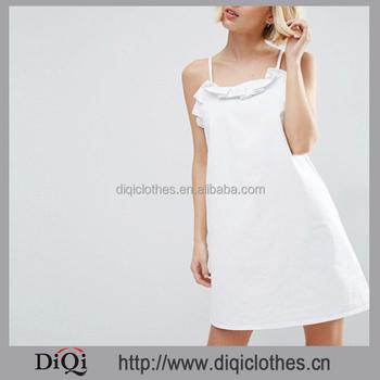 8ba717162a8 New Fashion Designs Girls Dresses Wholesale Denim Cotton Slip Dress Square  Neck Adjustable Straps Ruffle White