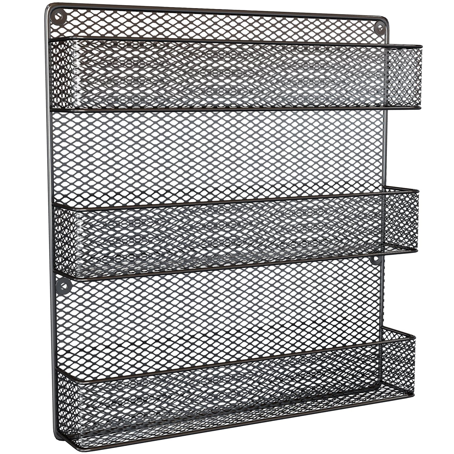 Spice Rack Organizer - Country Rustic Wire Style - Great Storage for Pantry, Cabinet and Kitchen - Wall Mounted 3 Tier Shelves