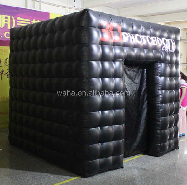 HOT!!! black inflatable photo booth/2doors/PVC/2.5*2.5*2.5