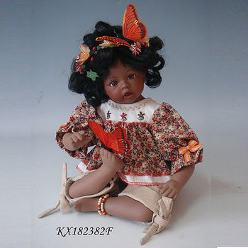18inch indian ceramic baby doll smiling sitting native american baby