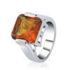 Alloys white gold Fashion Solid 925 Sterling Silver Natural Gem Stone Amber Ring