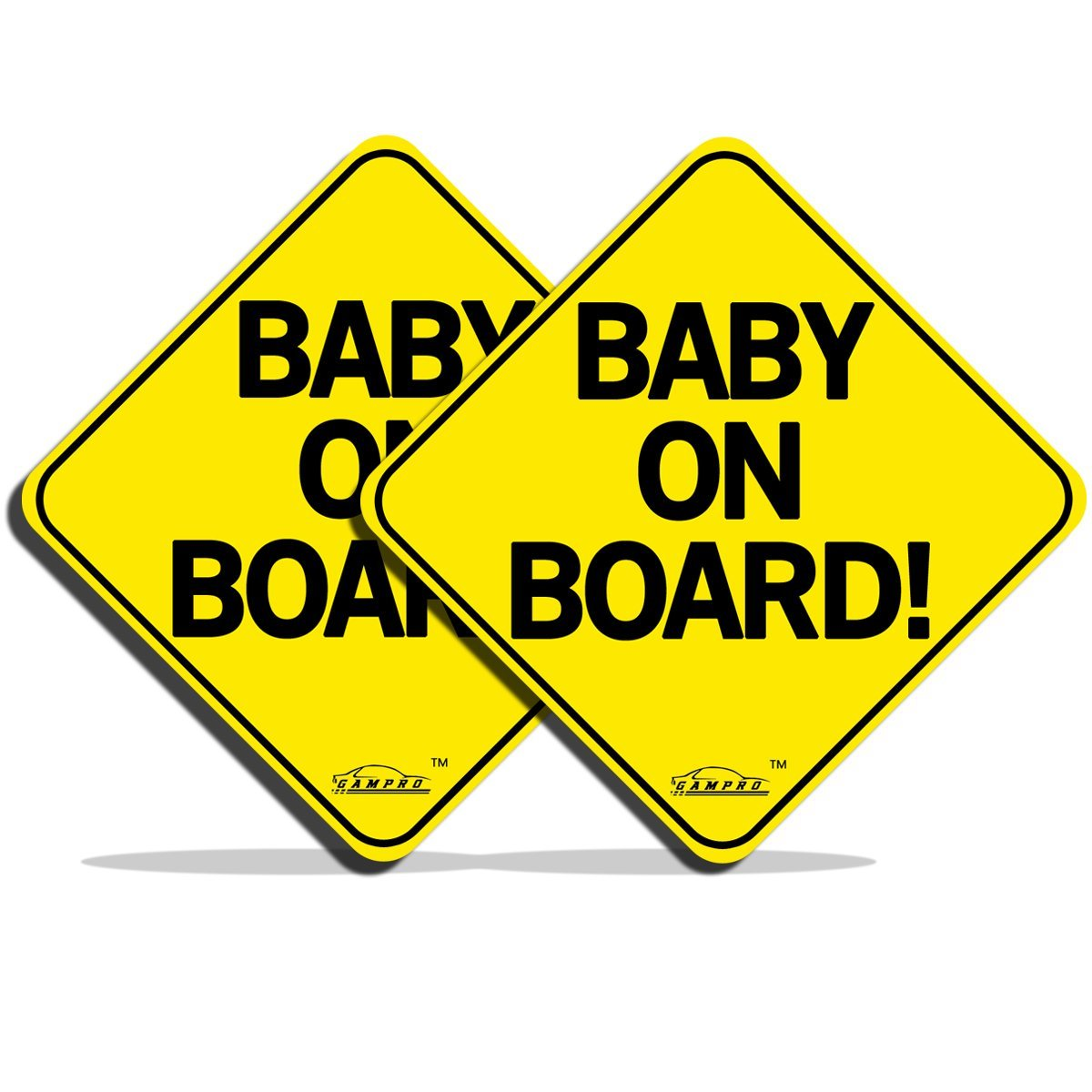 """GAMPRO 2 Pack """"BABY ON BOARD"""" Reflective Vehicle Bumper Magnet, Reflective Vehicle Car Sign Sticker Bumper for New Parents, Reduce Road Rage and Accidents for New Parent and Baby(2 Pack)"""