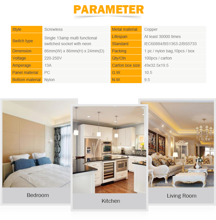 Electric 220V 13A 1 gang 3 pin wall light switch socket