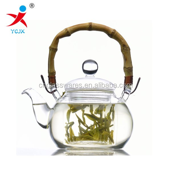 pyrex glass teapots with bamboo handle