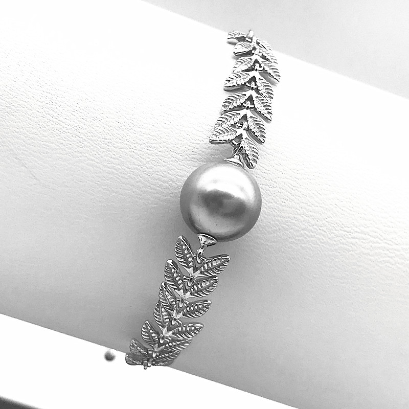 Latest fashion new 925 silver design adjustable leaves pearl women bracelet