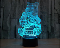 Wooden Base 3D Colorful Winnie The Pooh LED Table Lamp