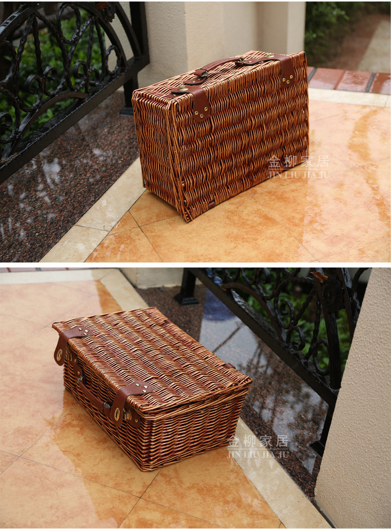 KINGWILLOW, Picnic wicker basket 4 person picnic set