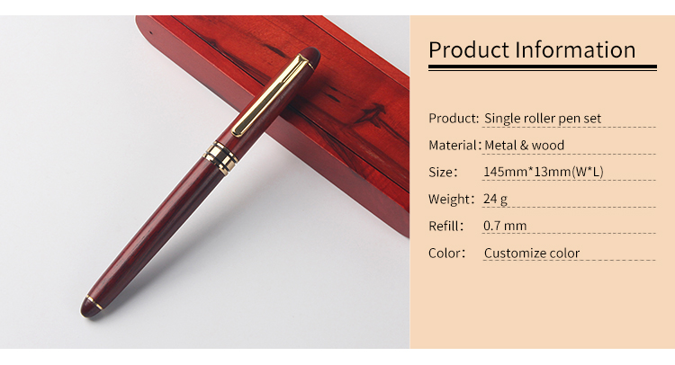 Promotional brand logo gift red wood roller ball pen set with red wooden box