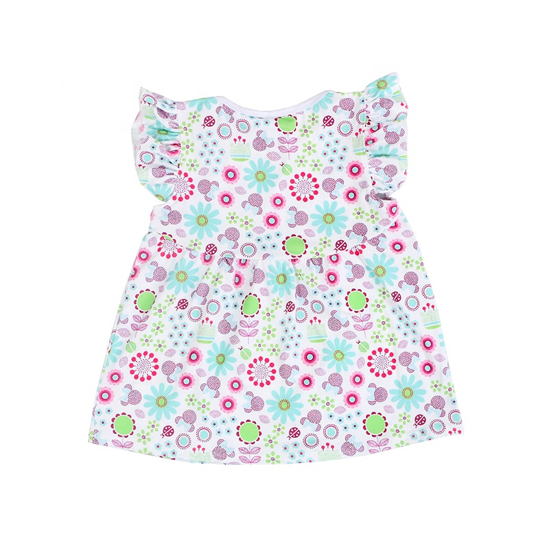 Summer boutique flutter sleeve kids children clothes baby tops gilr clothes