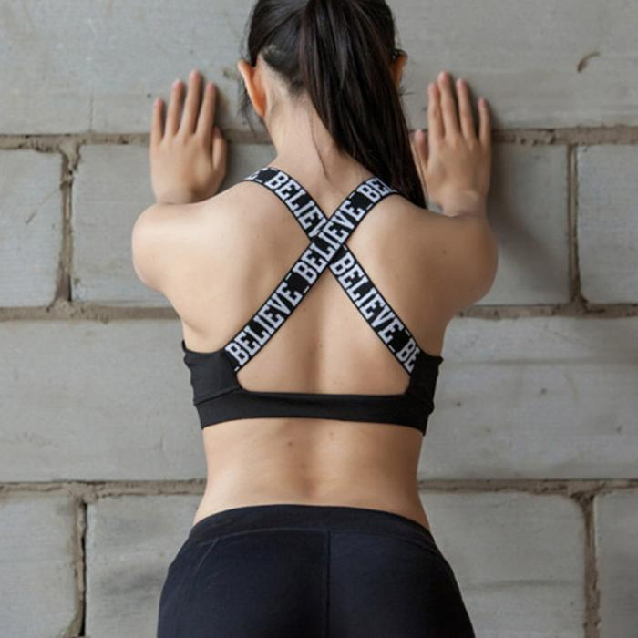e5f9f1eb1b Women Sports Bra Crossed Backless Top Shake proof Underwear English Letter  Strap Bras For Gym Fitness Yoga Running sh B