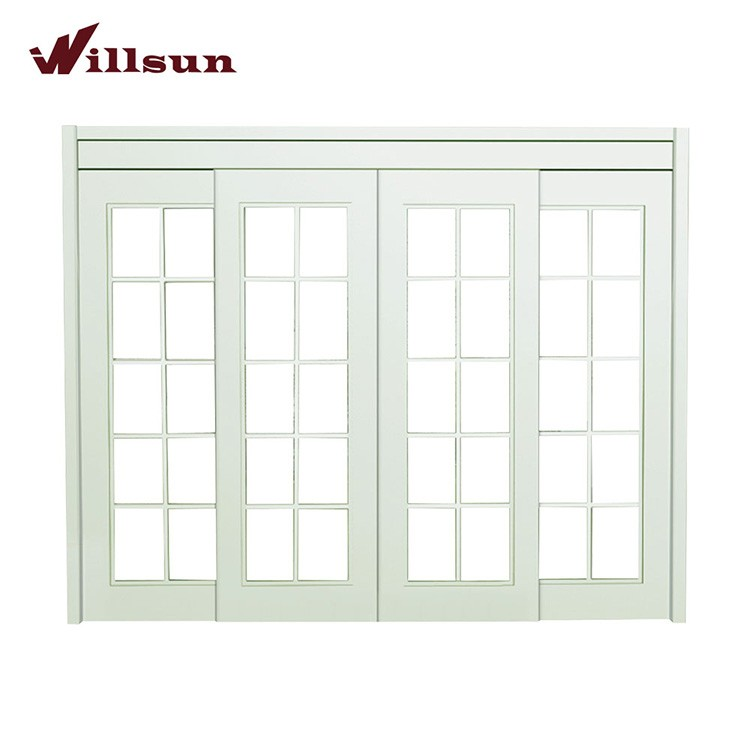 Pu Painting White 4 Panel Solid Wood Sliding Glass Patio Door