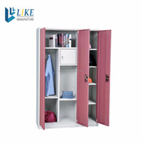 Over 15 Years Experience Factory high quality 3 door pink steel wardrobe