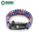 5 in 1 Wholesale Red White Blue Emergency 550 Paracord Bracelets with Fire Starter, Whistle and Compass for Outdoor Survival