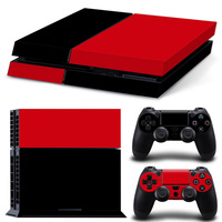 Black and Red Color skin Skin Sticker Cover For PS4 Playstation 4 Console + Controllers Vinyl Decal #TN-PS4-5106