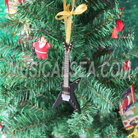 Miniature black guitar and unique christmas tree ornament