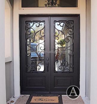 China Supplier Galvanized Steel Door Frame/wrought Iron Glass Door