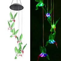 Outdoor Solar Powered Decoration Hanging Garden LED Color changing solar hummingbird wind chime lights for window
