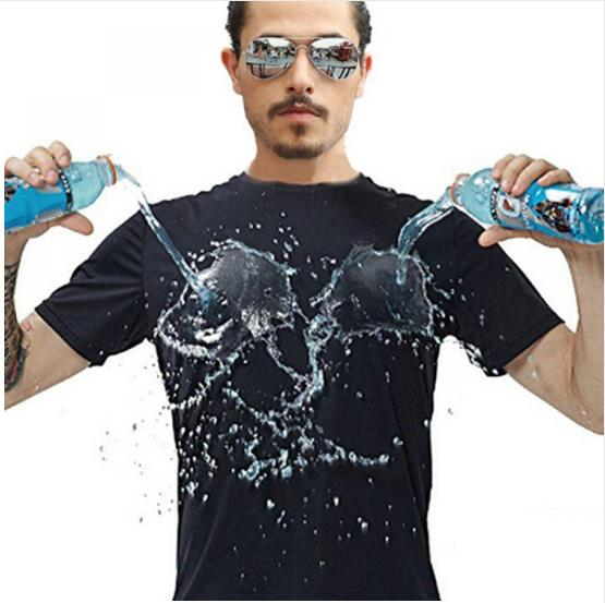 Anti-Dirty Waterproof Men T Shirt Creative Hydrophobic Stain proof Breathable Antifouling Quick Dry Top Short Sleeve T Shirt Men